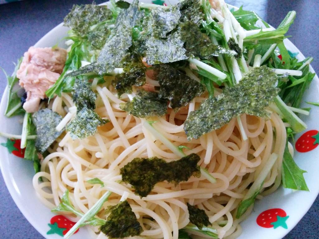鮭と水菜の冷製パスタ
