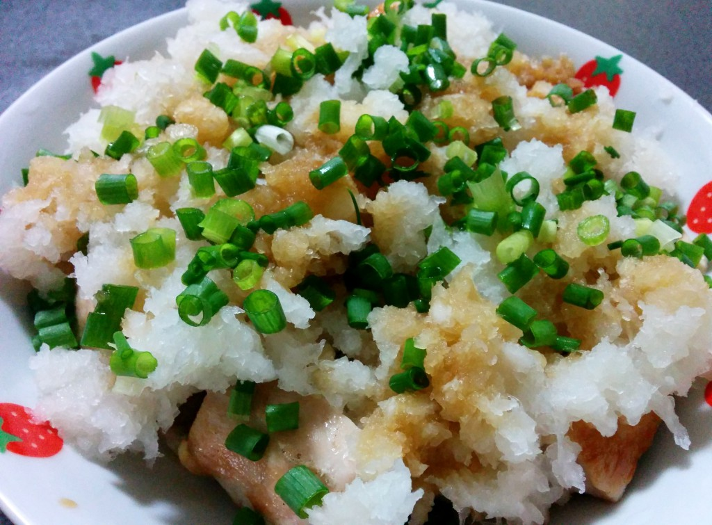 Grilled Chicken Breast Meat with Grated White Radish and Ponzu Source